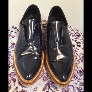 ZARA Basic navy blue patent leather slip on